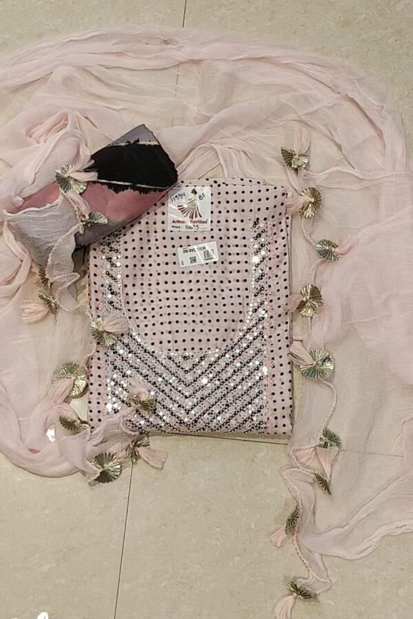 Designer Pure Silk Suit with Opada Bottom and Chiffon Dupatta