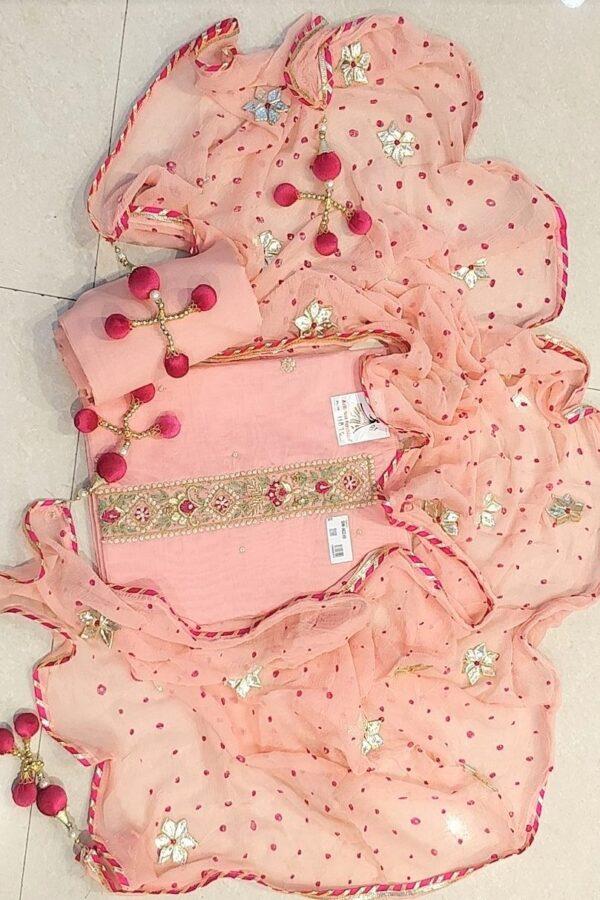 Peach Modal Chanderi Designer Suit with Nazneen Dupatta