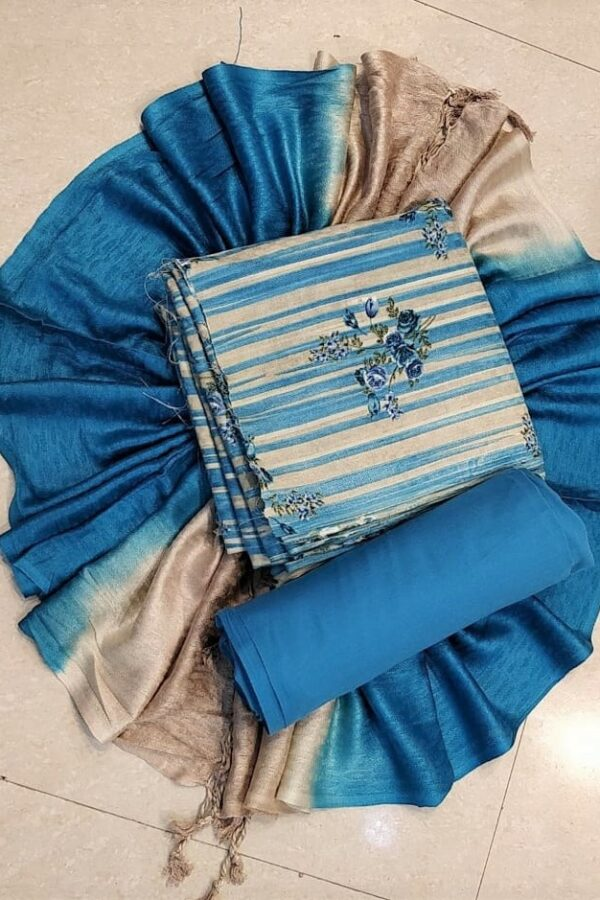 Blue Printed Pashmina Suit with Stall - Arihant fashion