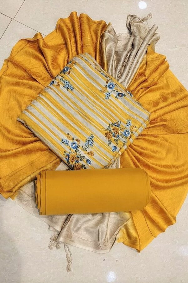 Yellow Printed Pashmina Suit with Stall