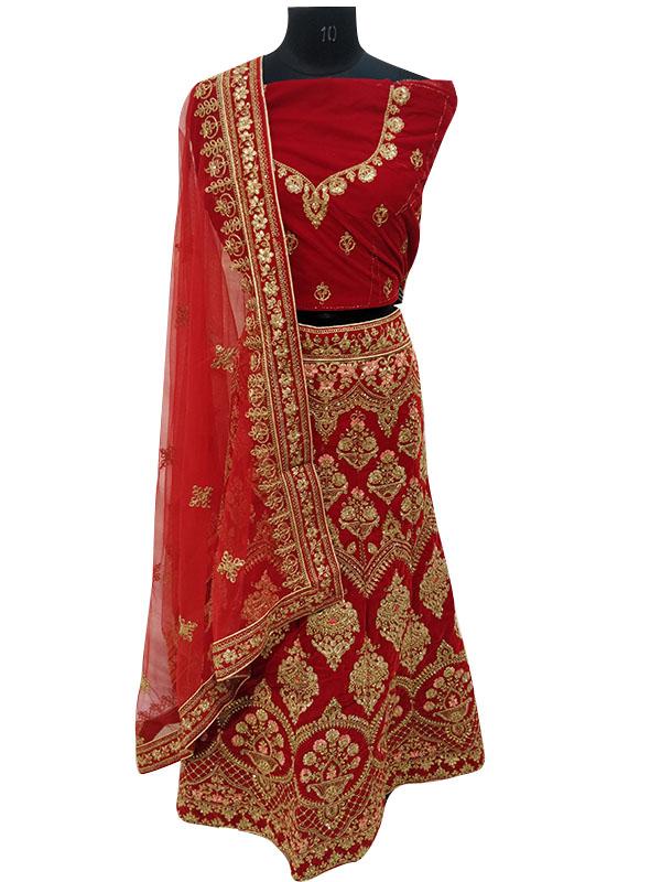 Red Pure Velvet Bridal Lehenga Choli with Zardosi Work