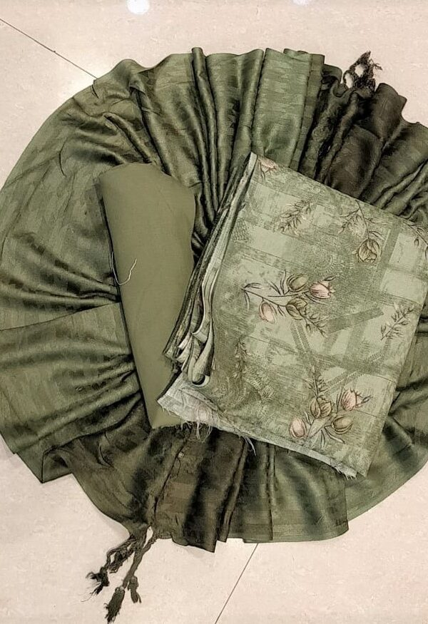 Olive Green Coloured Woollen Pashmina Suit with Stall