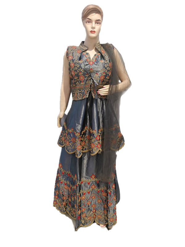 Grey Ethnic Wear Satin Silk Kurta Lehenga Set