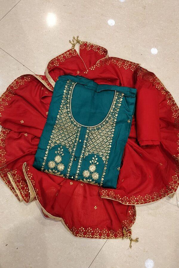Blue Jam Cotton Designer Hand Work Salwar Suit for Women