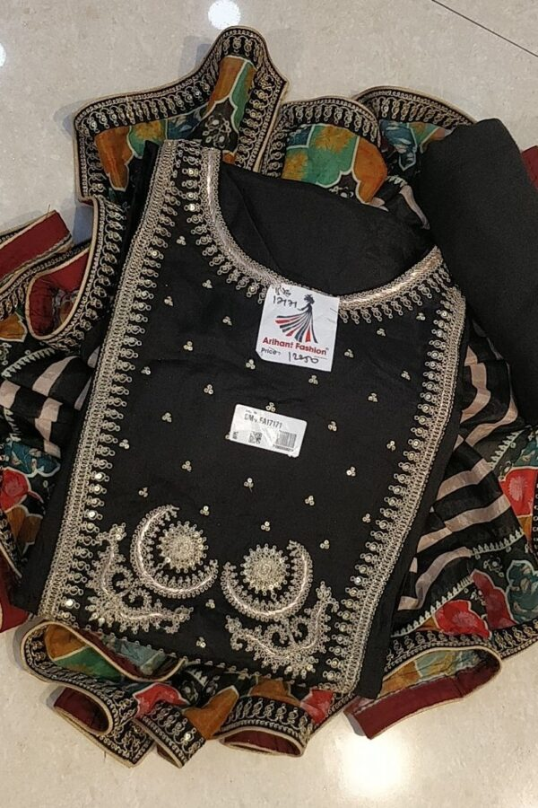 Black Coloured Muslin Silk with Sequence Work Festive Wear Salwar Suit