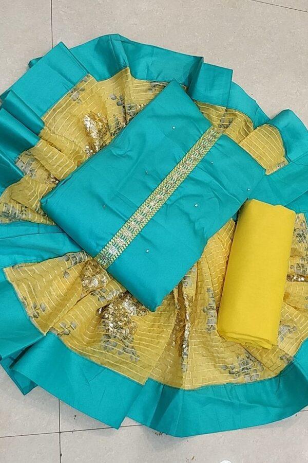 Sky Blue Jam Cotton Unstitched Suit with Resham Dupatta Arihant fashion