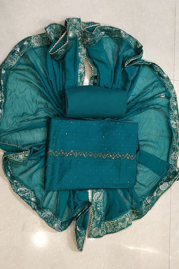 Designer jam cotton suit material with stone work and heavy dupatta