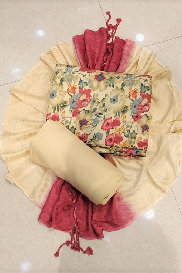 Cream Unstitched Pashmina Suit with Stall