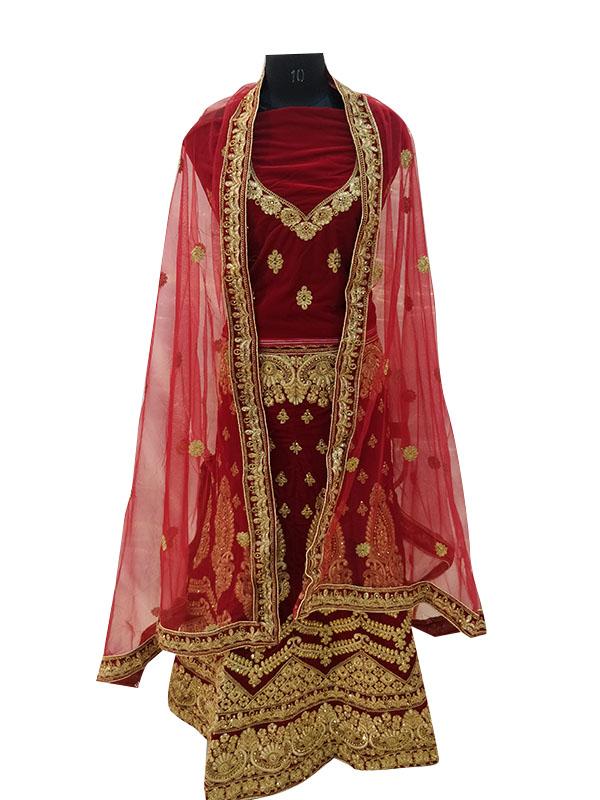 Bridal Maroon Zardosi Embroidered Velvet Lehenga Choli