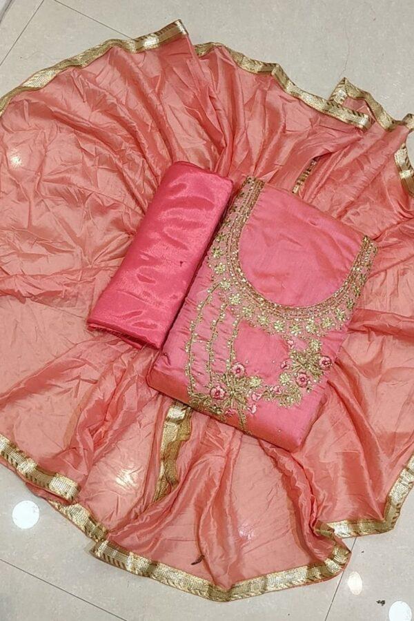 Designer Pure Chanderi Salwar Suit Material