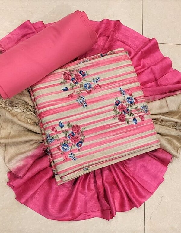 Pink Printed Pashmina Suit with Stall