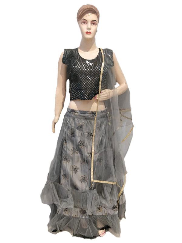 Black Grey Designer Silk Crop Top Skirt