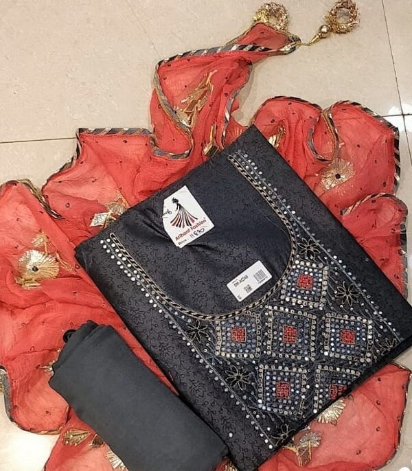 Black Colour Chanderi silk suit with Chiffon Dupptta For Woman