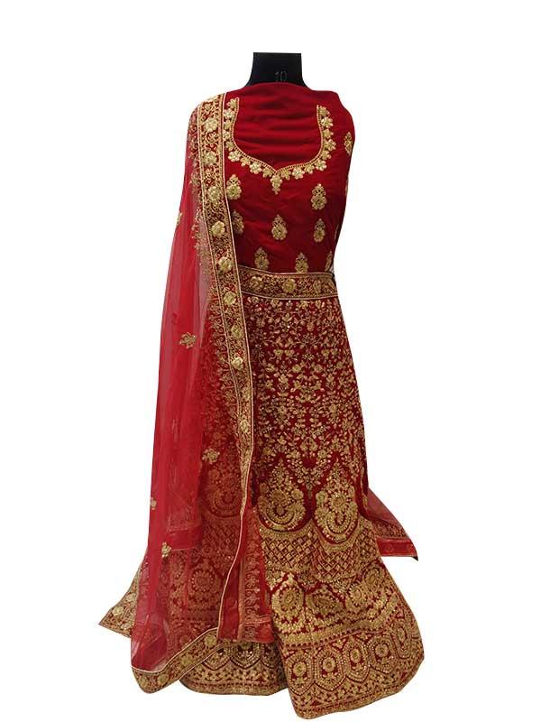 Bridal Red Zardosi Embroidered Velvet Lehenga Choli