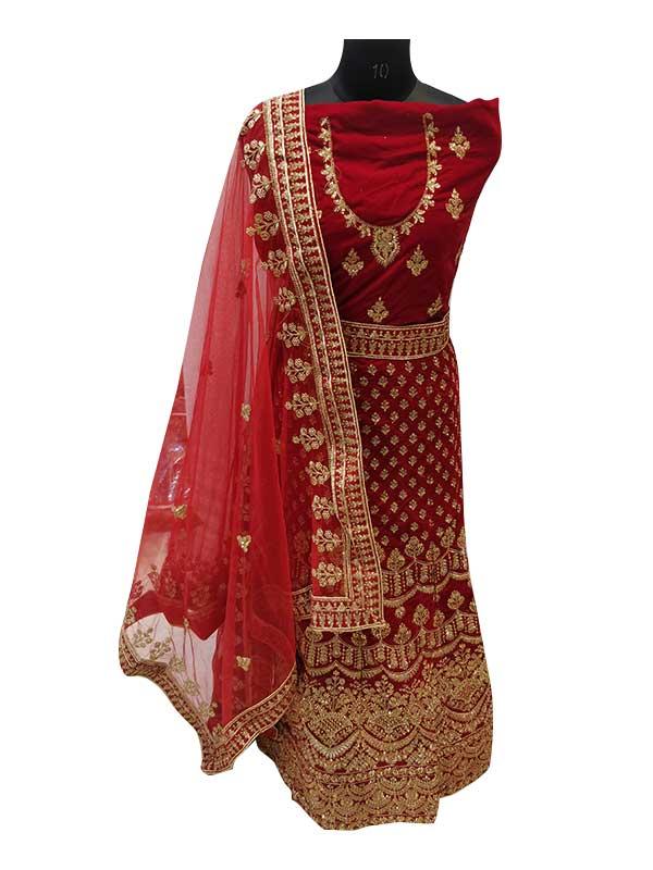 Designer Red Velvet Lehenga Choli with Zardosi Work
