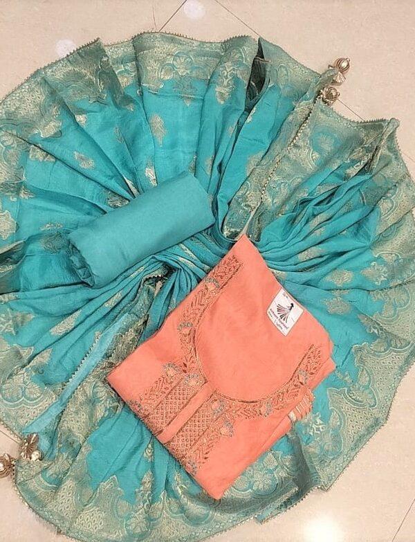 light Orange Colour Modal Chanderi suit with Banarasi Dupptta For Woman