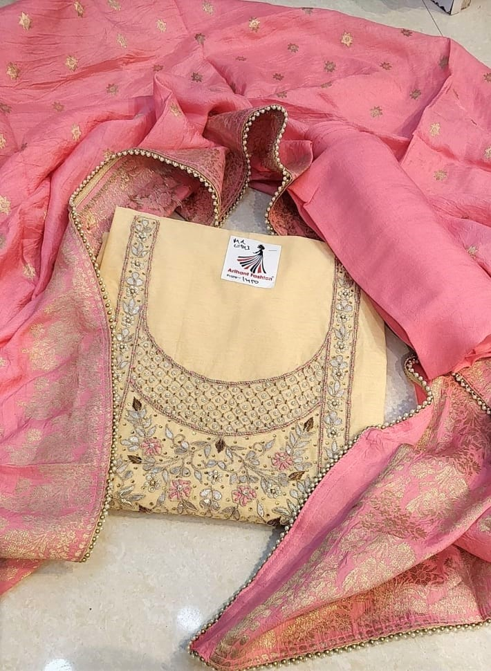 Stylish cream Colour Modal Chanderi suit with Banarasi Dupptta For Woman