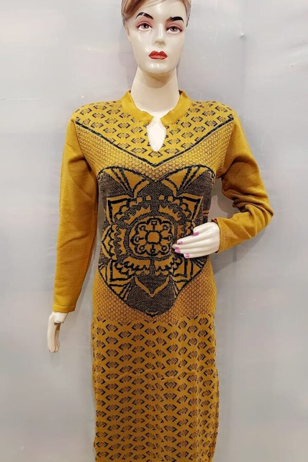 Musted Yellow Coloured Woollen Kurti with Resham work for women