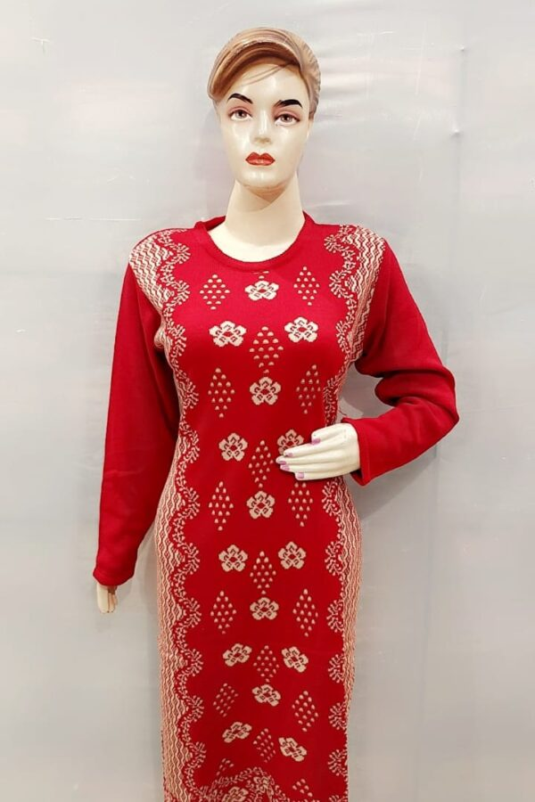Red Coloured Woolen Kurti with Resham work for women