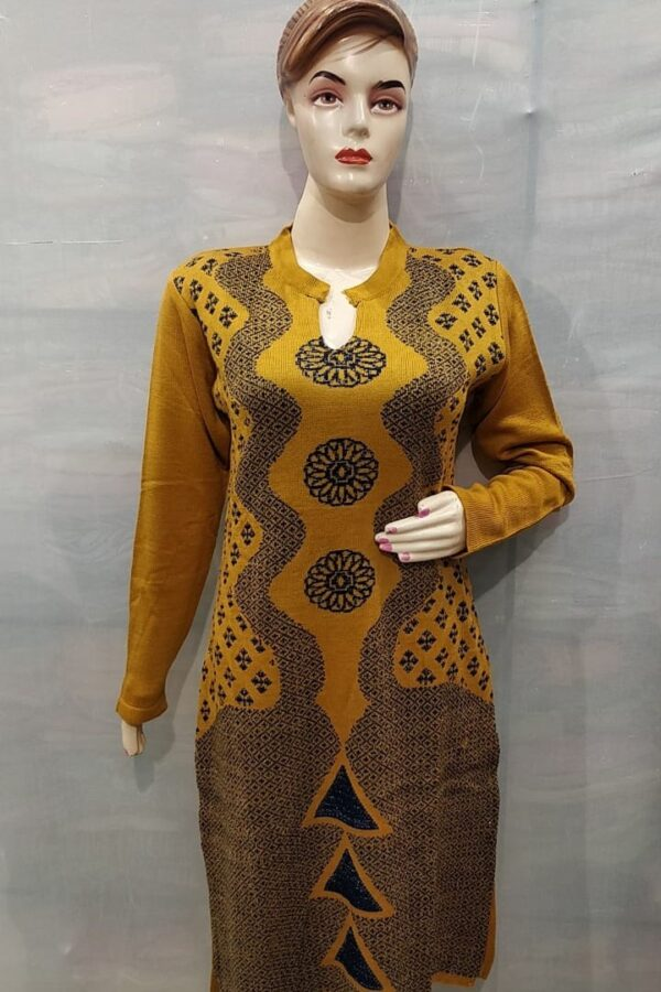 Mustad Yellow Coloured Woolen Kurti with Resham work for women
