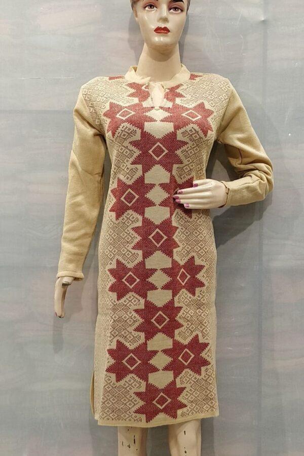 Cream Yellow Coloured Woolen Kurti with Resham work for women