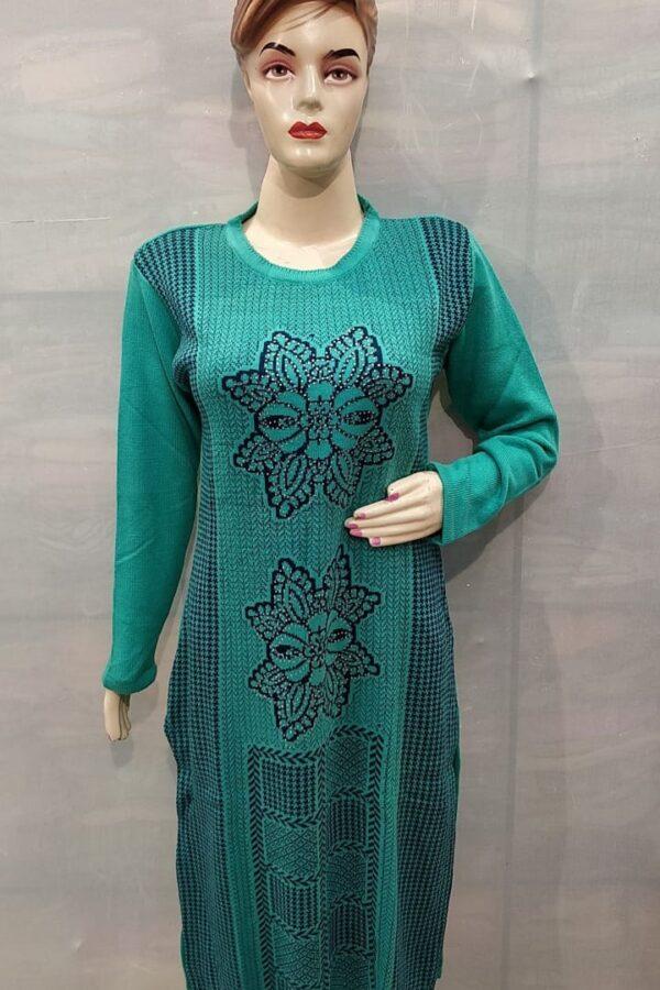 Green Coloured Woollen Kurti with Resham work for women