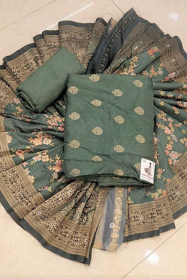 Stylish Mahndi Colour Banarsi silk Suit,senton Bottom With Banarsi Dupptta