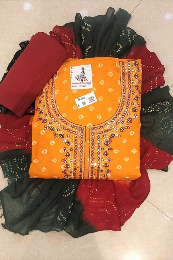 The Beautiful Orange Coloured Cotton suit with moti work