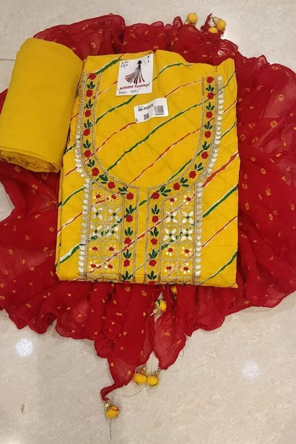 Yellow Colour Cotton suit with Gotta Pati work