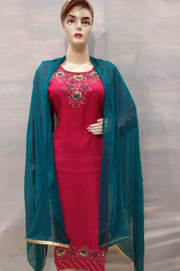Pink Crape Suit with santoon Bottom and Chiffon Dupatta