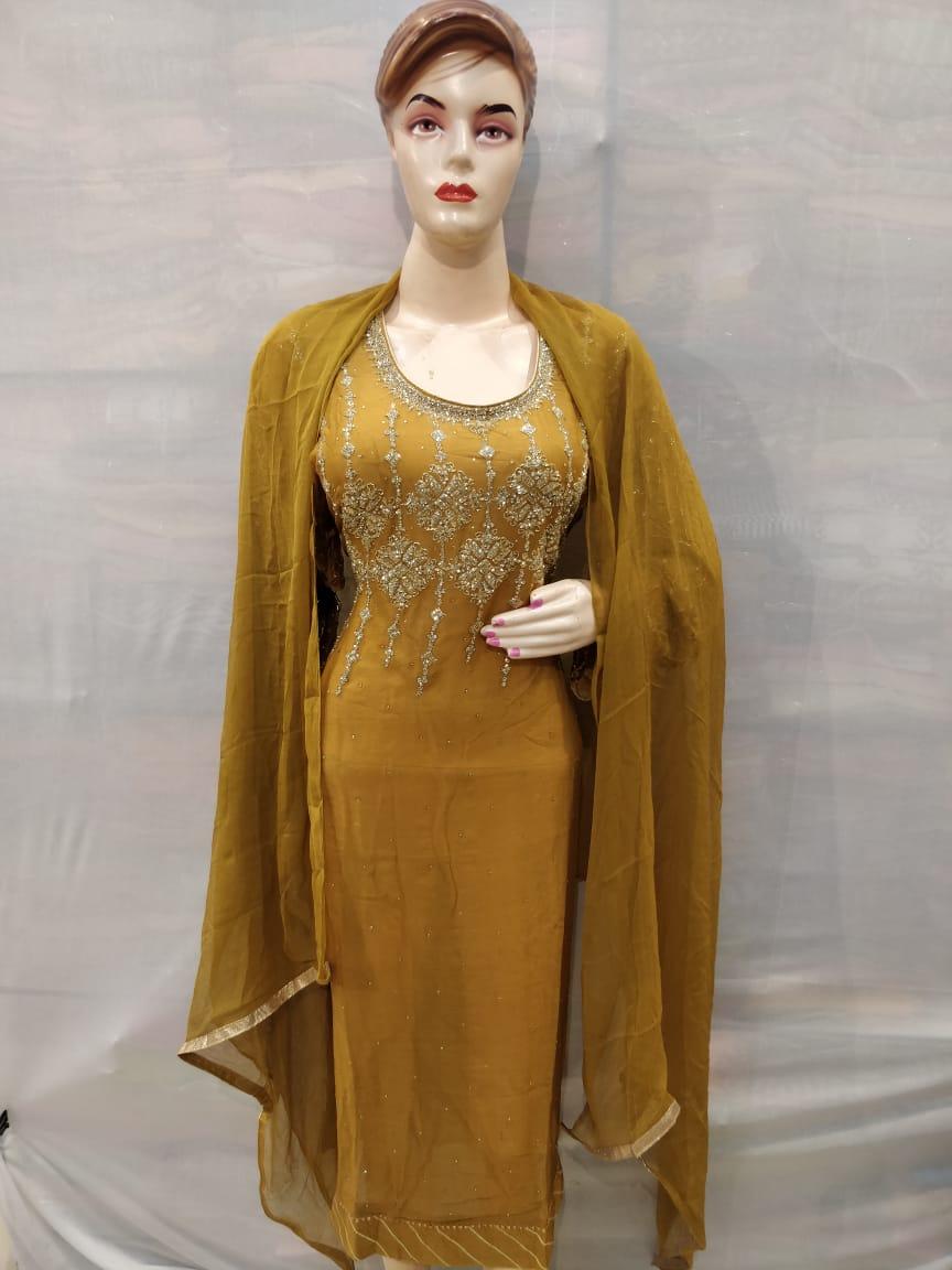 Dark Yellow Crape Suit with santoon Bottom and Chiffon Dupatta