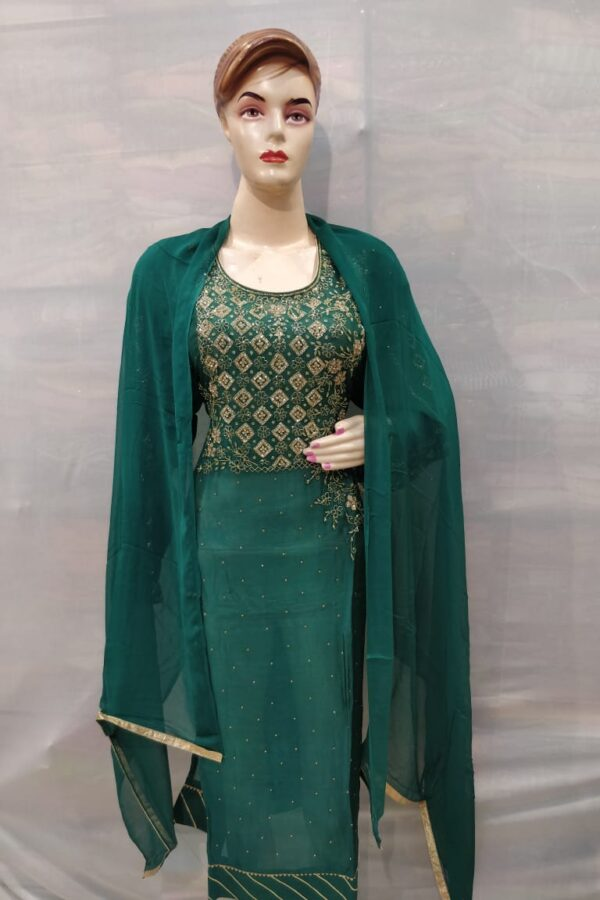 Green chinon Suit with santoon Bottom and Chiffon Dupatta