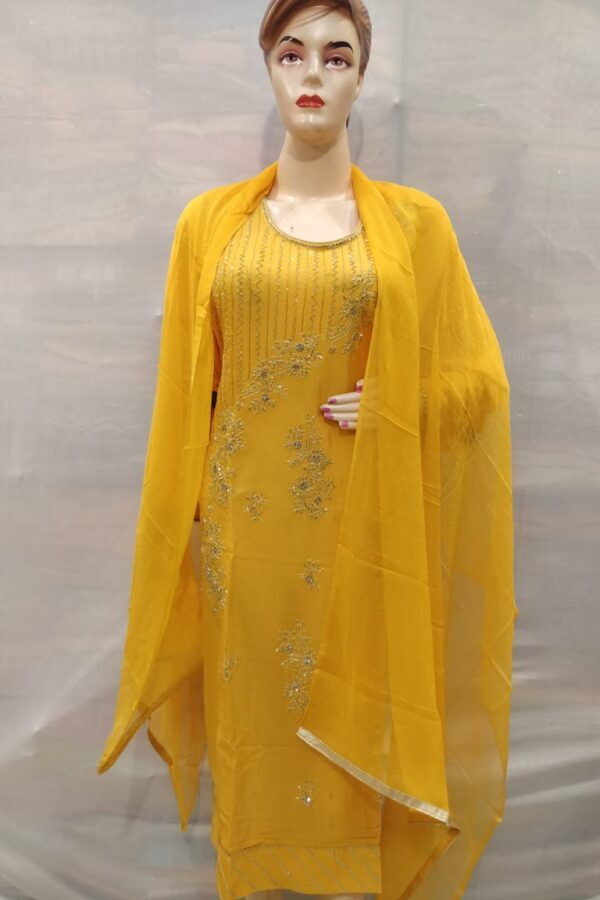 yellow Crape Suit with santoon Bottom and Chiffon Dupatta