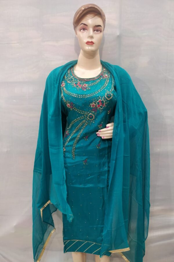 Blue Coloured senton Salwar Suit with Neack hand Work for Women