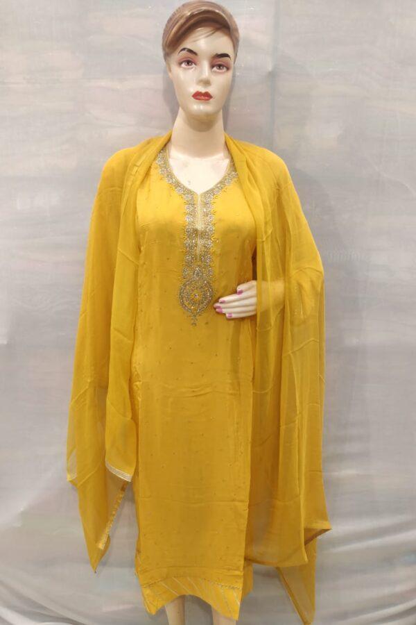 Yellow Crape Silk Designer Hand Work Salwar Suit for Women