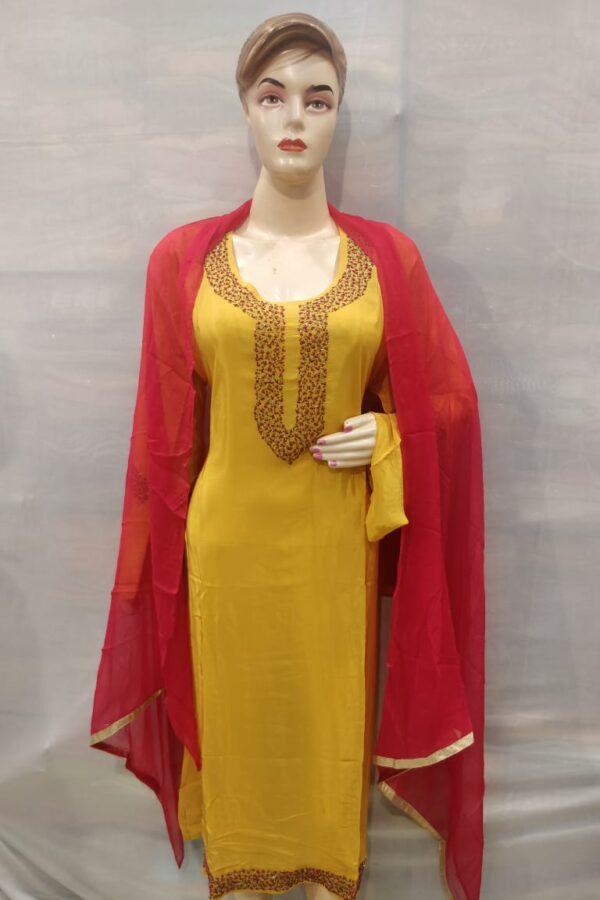 yellow Coloured senton Salwar Suit Duptta with Neck hand Work for Women