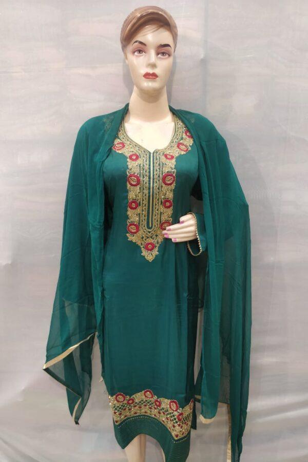 Bottle Green Coloured senton Salwar Suit Dupatta with Neck hand Work