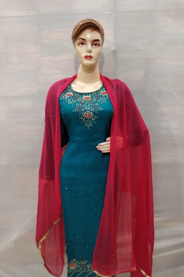 Stylish Blue crape silk Suit with santoon Bottom and Pure Chiffon Dupatta