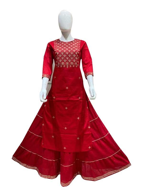 Stylish Red Colour Cotton silk Designer Golden thread Work Skirt Kurti for Women
