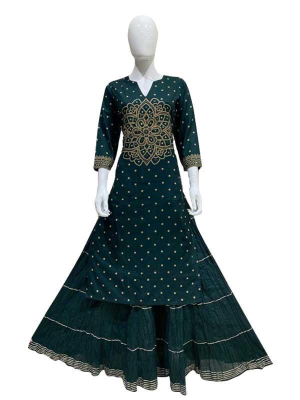 Green cotton Print Designer thread Work skirt kurti for woman