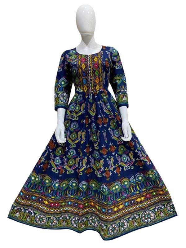 Blue Cotton Long kurti with florial print work for Woman