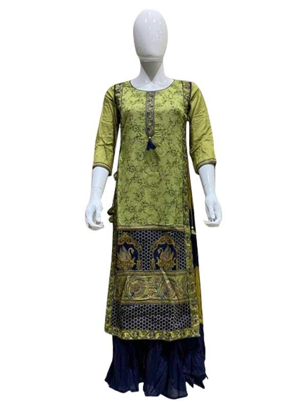 Light Green Digital Print with thread Work Cotton skirt Kurti for Women