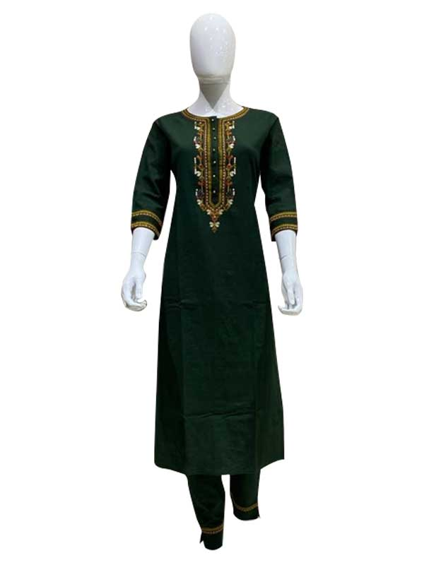 Green Colored Cotton Thread Work Fancy Pant Style Kurti