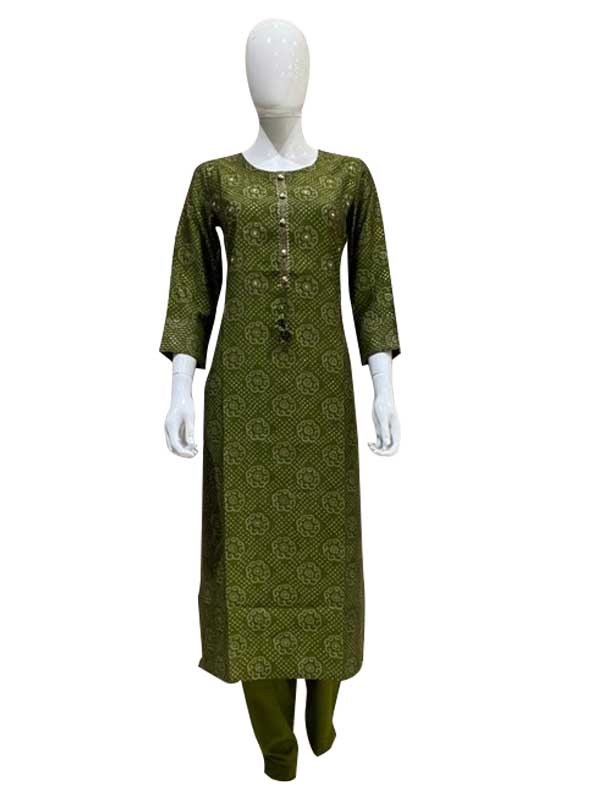 Green Color Cotton Print Kurti with pant set for Women