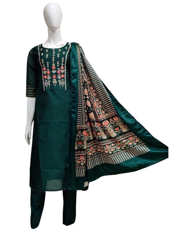 Dark Green Color chanderi Kurti with pant set for Women
