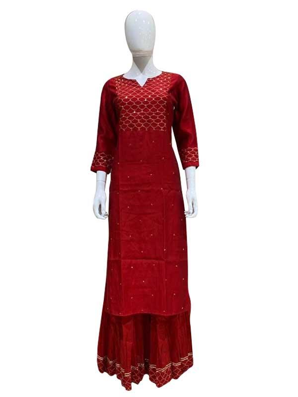 Stylish Red Colour Cotton kurti Golden thread Work Plazzo Kurti for Women