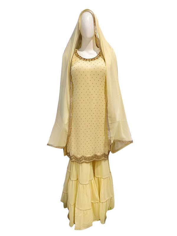 Musted Yellow Color Sharara Suit with Pure Dupatta for Women