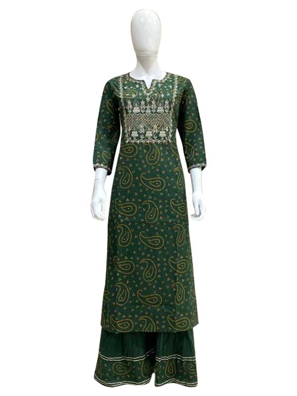 Green color Cotton Long Kurti With Plazzo Set For Women