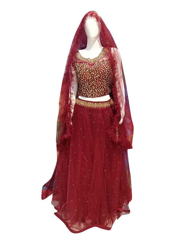 Stylish Mahroon Color Net Fabric Dress Online - Arihant Fashion