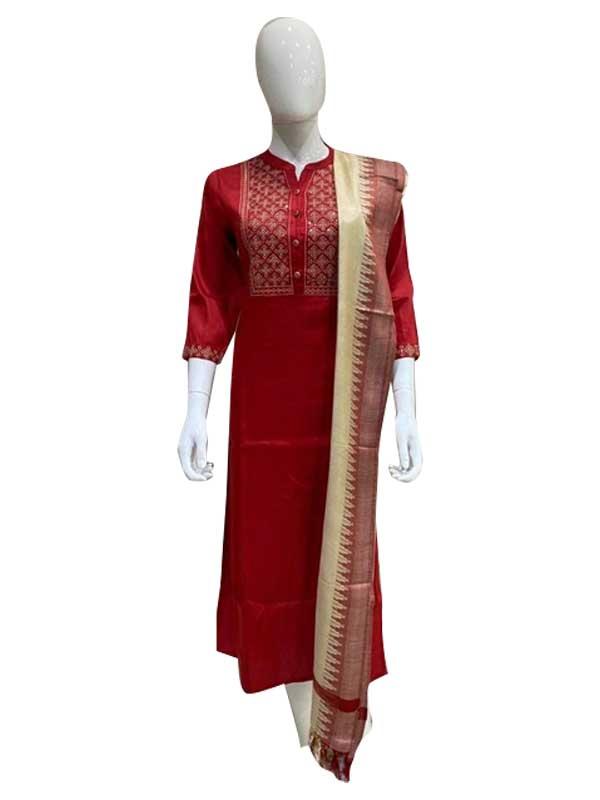 Red Color Cotton Kurti with Banarasi Dupatta for women